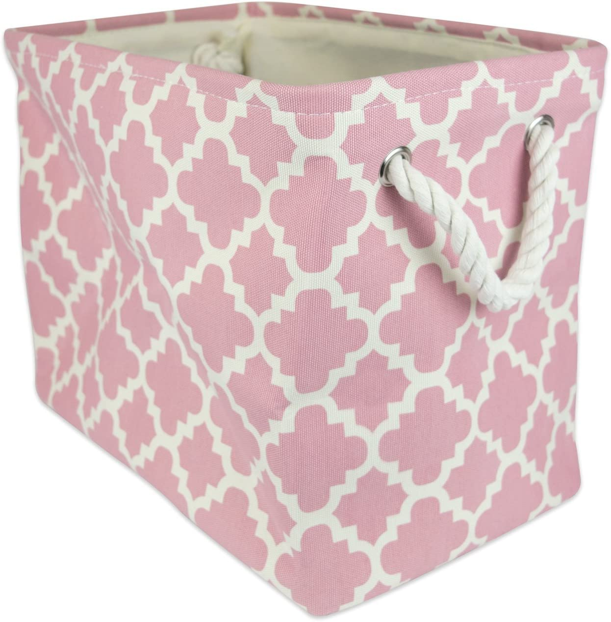 DII Collapsible Polyester Storage Basket or Bin with Durable Cotton Handles, Home Organizer Solution for Office, Bedroom, Closet, Toys, Laundry (Medium – 16x10x12), Lattice Rose