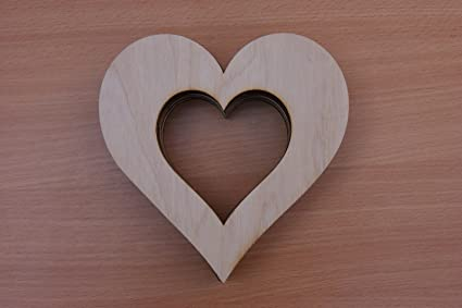 10x WOODEN Large Heart in Heart Shapes Inside Gift Tags Blank Craft  Decoration