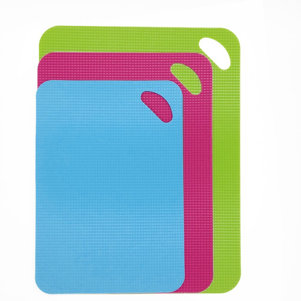 Set of 3 Cutting Boards, ANIN 12 13.5 15 Flexible Plastic PP Chopping Mats Non-stick Anti-slip for Kitchen - Blue, Rose Red, Green AN-cutting_mat_3