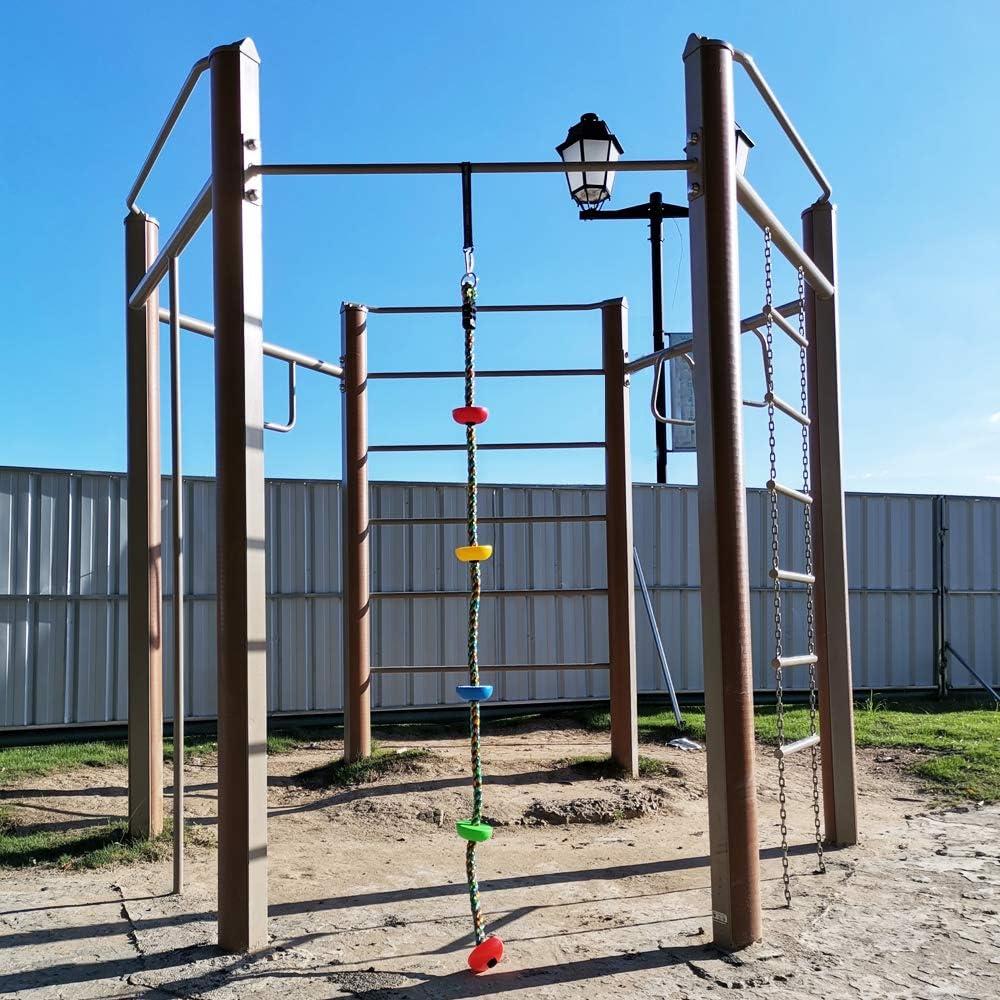Xinlinke Colorida escalera de cuerda de escalada con plataformas para niños, interior y exterior, árbol de casa, juego columpio, accesorios de línea ...