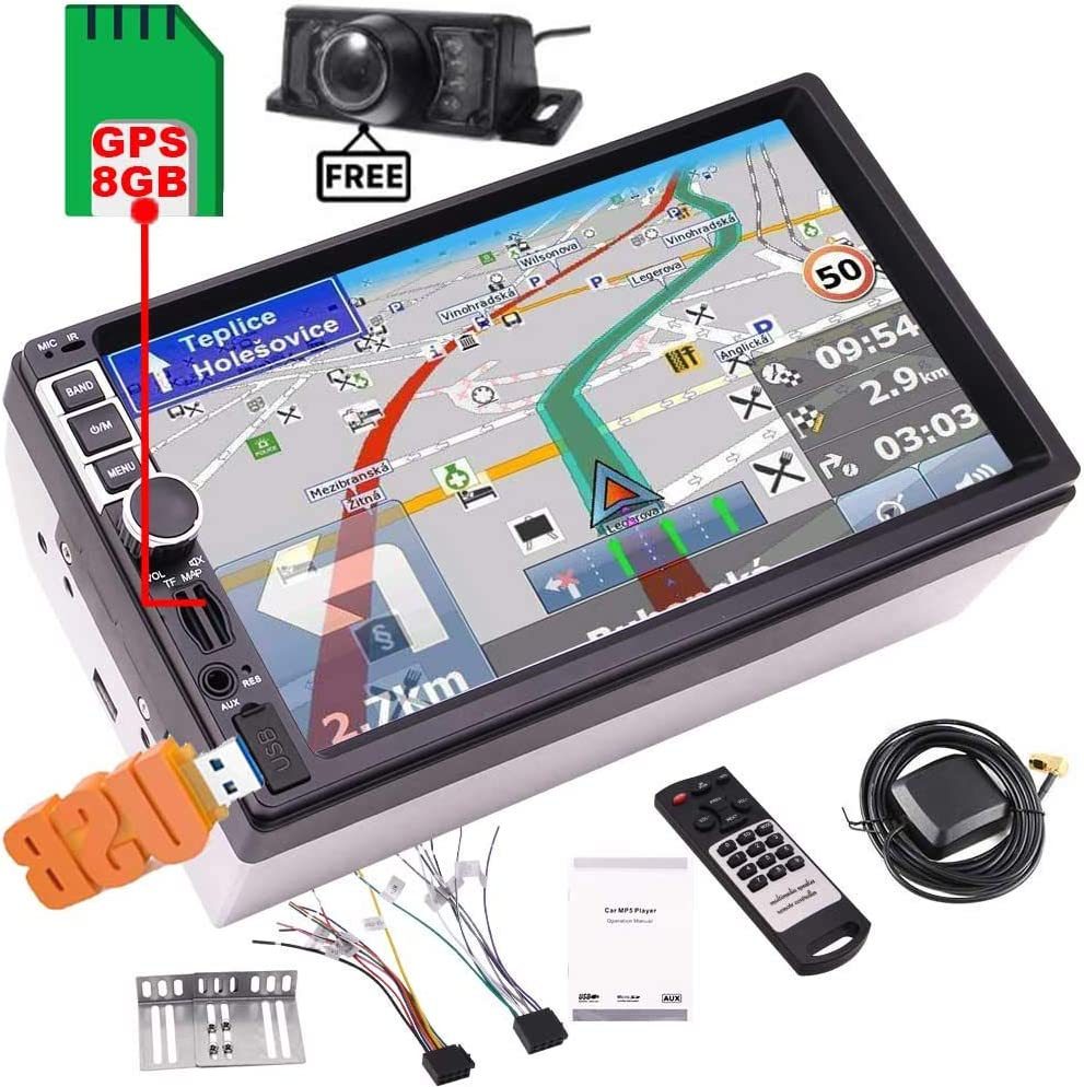 Cámara Libre + 8 GB GPS Tarjeta del Mapa del Coche MP5 con Soporte Bluetooth estéreo Steering Wheel Control Coche del transmisor de FM Navigator Autoradio USB TF Unidad Principal Reproductor de