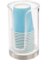 mDesign Soporte para vasos de usar y tirar – Dispensadores de vasos para agua y enjuague