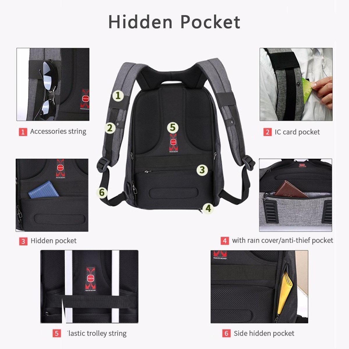 kopack 17 inch Anti Theft Laptop Backpack Waterproof Travel Backpack Rain Cover/USB Business Scan Smart by kopack (Image #6)