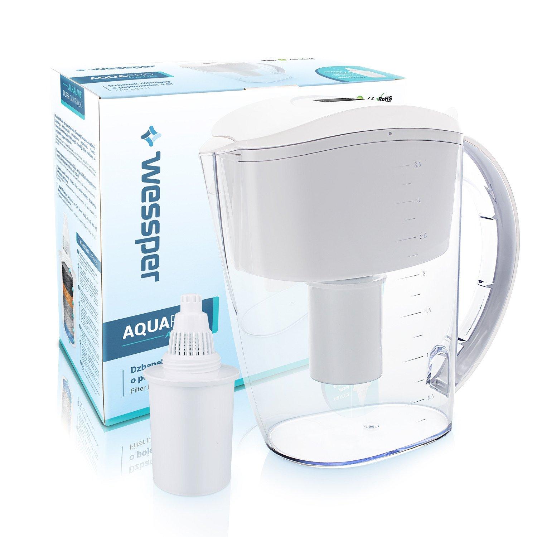 Wessper Caraffa filtrante per acqua alcalina, Acqua alcalina brocca (sostituzione per Brita Aluna) 3,5L - bianco