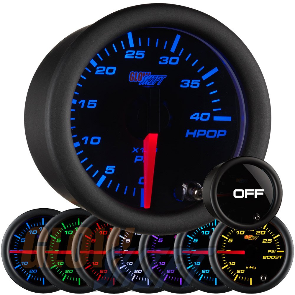 GlowShift Tinted 7 Color 4, 000 PSI High Pressure Oil Pressure HPOP Gauge - for 1994-2003 7.3L & 2003-2007 6.0L Ford Power Stroke Diesel Engines - Black Face - Smoked Lens - 2-1/16' 52mm GlowShift Gauges GS-T721-SM