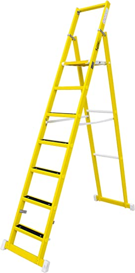 Escalera de tijera aislante con plataforma antideslizante de 31×33 cm, fabricada en fibra de vidrio. Según norma UNE-EN 131 (7 peldaños): Amazon.es: Bricolaje y herramientas