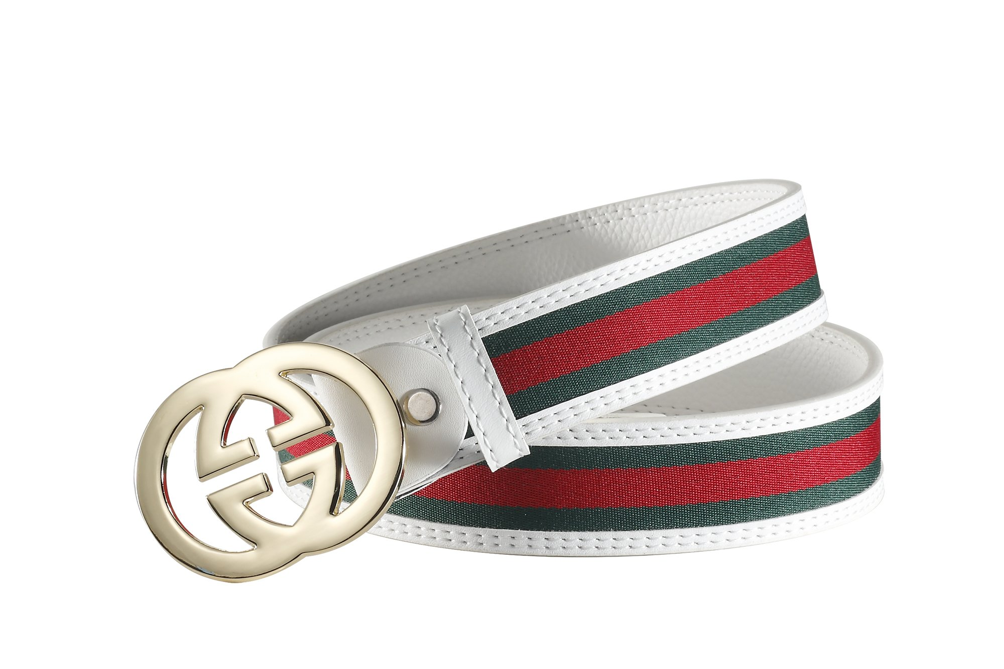 Fashion G-Style unisex Business Casual Belt [3.8CM] (white with gold buckle, 105CM[Waist<30'']) by Cody
