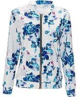 LUNIWEI Women Floral Zipper Vintage Blazer Jacket Coat Outwear
