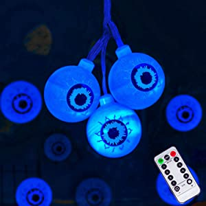 Halloween Decorations String Lights, 30 LED Waterproof Cute Eyeball LED Holiday Lights for Outdoor Decor, 8 Modes Steady/Flickering Lights (Blue)