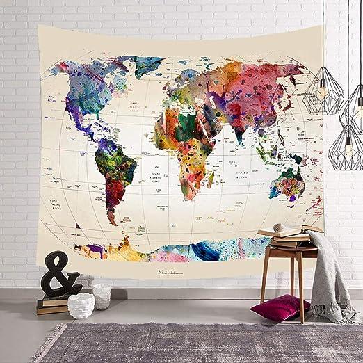 Morbuy Tapiz Pared de Creativo Decoración Tapices Mapa del Mundo ...