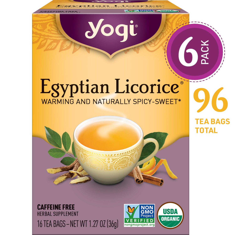 Yogi Tea - Egyptian Licorice - Warming and Naturally Spicy Sweet - 6 Pack, 96 Tea Bags Total by Yogi