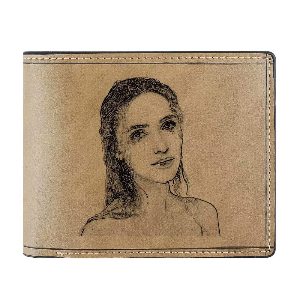 Private Custom Simulation Leather Short Wallet Can Personalize Pictures Fathers Day Gift