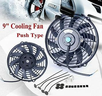 """ALLOYWORKS Slim 9"""" Pull/Push Radiador Motor Ventilador de refrigeración de Bay & montaje"""