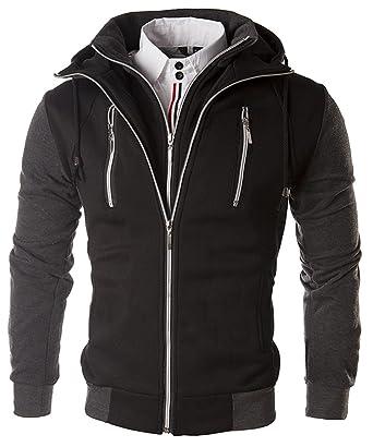Cloud Style Mens Multi-Zipper American Fleece Hoody Hooded Zipper Long  Sleeves Men's Faux Twinset