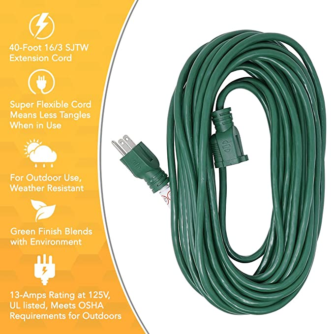 Woods 0393 163 sjtw outdoor sjtw extension cord 40 foot green woods 0393 163 sjtw outdoor sjtw extension cord 40 foot green finish green extension cable amazon publicscrutiny Choice Image