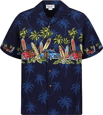Pacific Legend   Original Hawaii Camisa   Hombre   S – 4 xl   manga corta   frontal de funda   Hawaii de Print   Surf Auto Palmeras   Azul