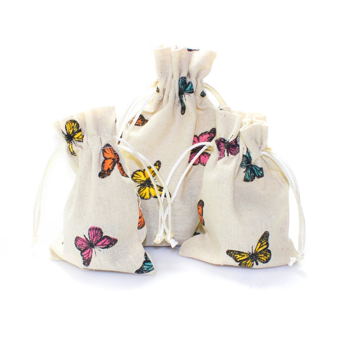 Linen and Bags 4'' x 6'' Drawstring Butterfly Linen Favor Bag Pouches with Nylon Cord for Party Favors, Crafts, and Gifts 25 Bags