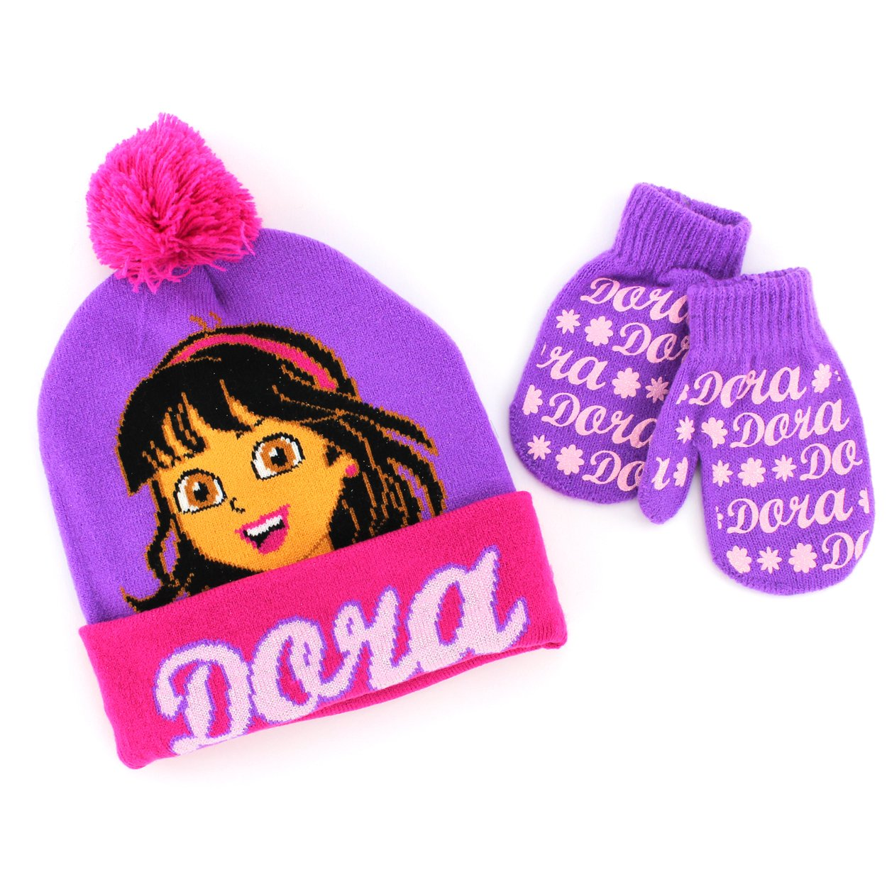 Amazon.com  Disney Nickelodeon Toddler Girls Hat and Mittens Set (Pink Red  Dora)  Clothing da8c87789d5c