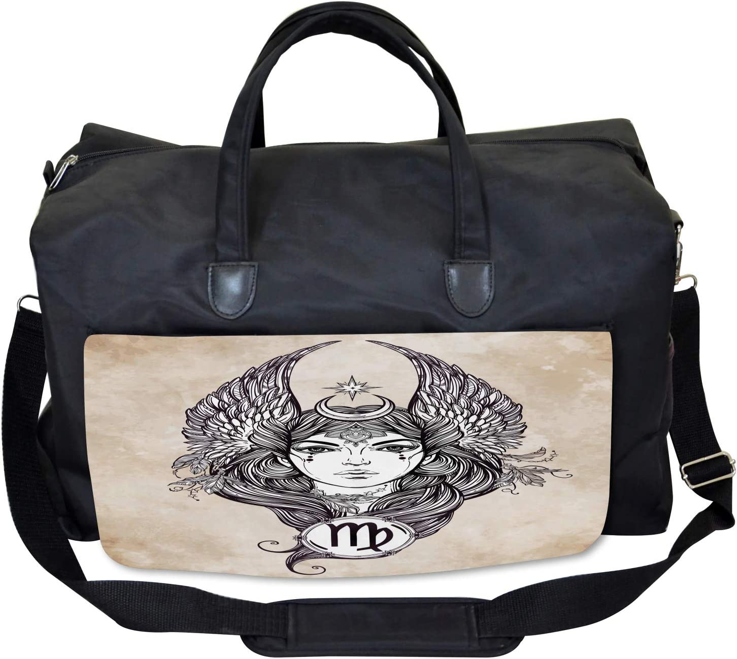 Ambesonne Tan Gym Bag Hand Drawn Astrological Large Weekender Carry-on