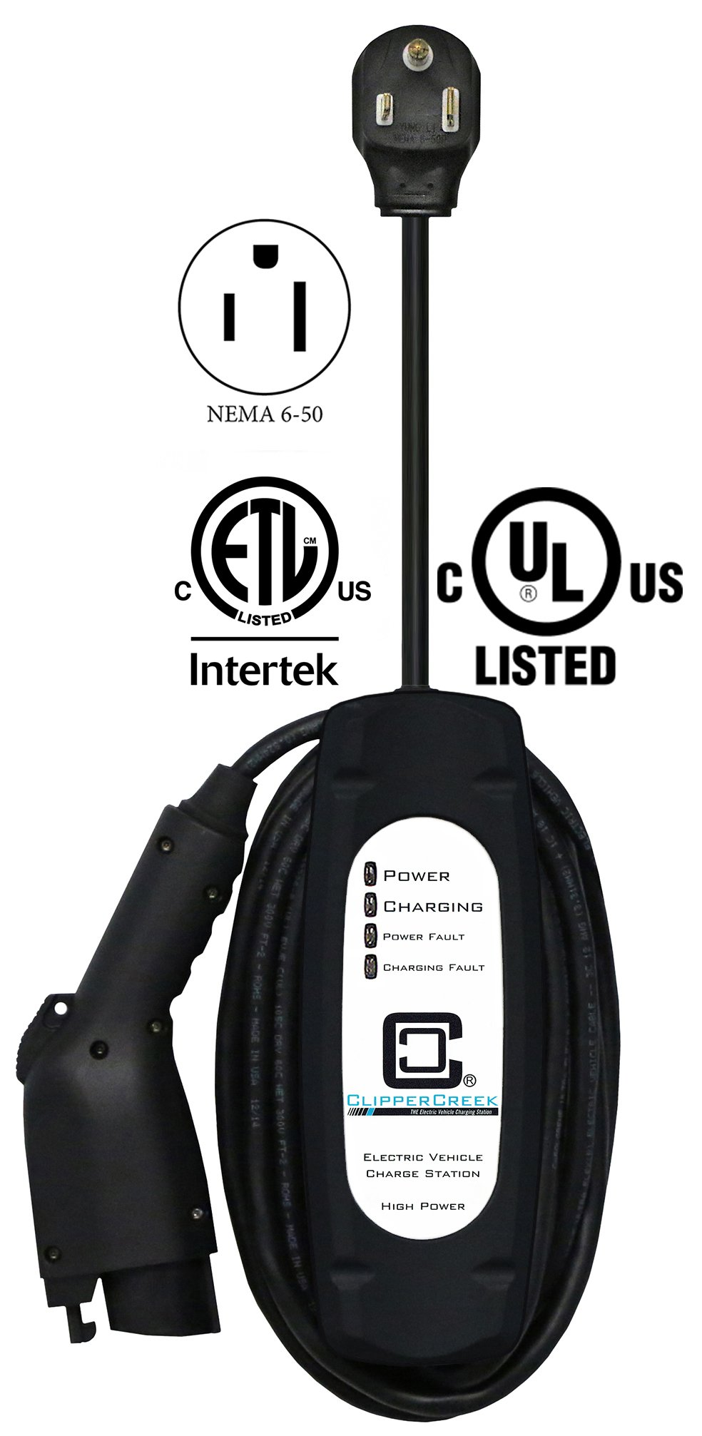 ClipperCreek LCS-30P, Plug-in 24 Amp Level 2 EVSE, 240V, NEMA 6-50 plug, with 25 ft cable, SAFETY CERTIFIED, Made in America