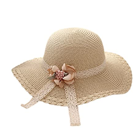 27d1888976e Kanggest Sun Hat Fashion Straw Cap Children Girls  Flower Lace Sun Hat  Summer Beach Sun