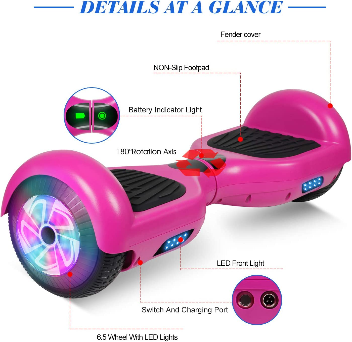 FLYING-ANT Hoverboard, 6.5 Inch Self Balancing Hoverboards F-Purple - 1