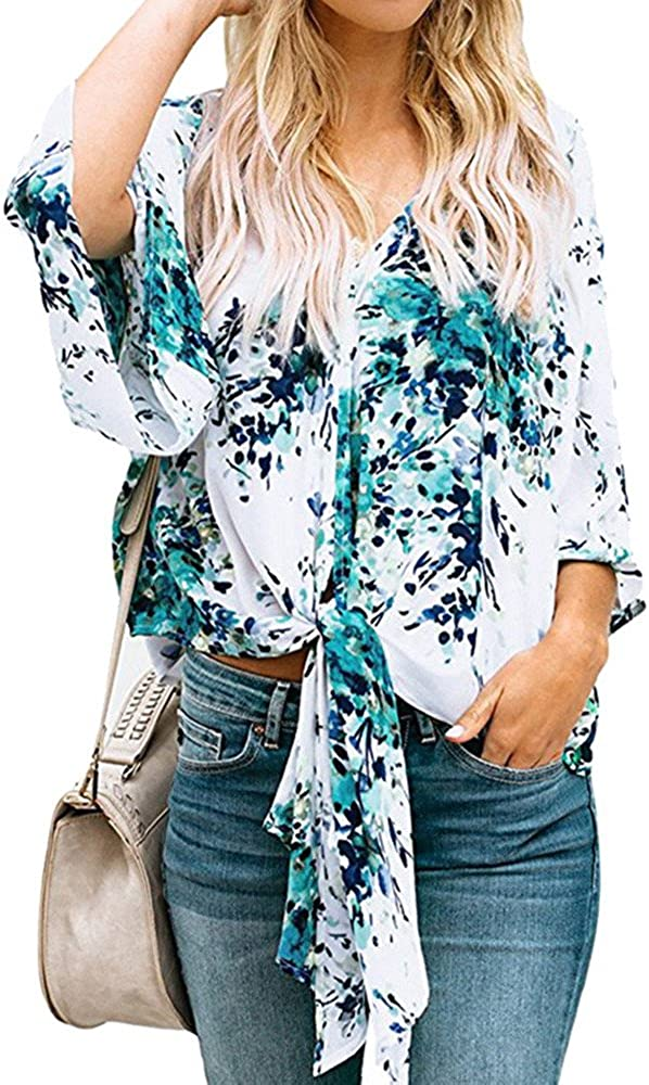 【MOHOLL】 Women V Neck Floral Print Buttons Batwing Sleeve Loose Blouse Tops