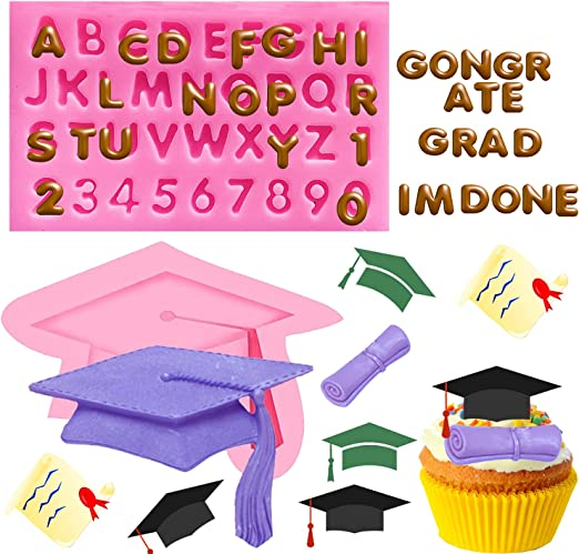 Doumeny 3 Pcs Graduation Mold Set, Graduation Cap Silicone Mold Diploma Graduate Fondant Mold Certificate Candy Mold Doctorial Hat Chocolate Mold Letters Molds and Numbers Molds for Graduation Decor