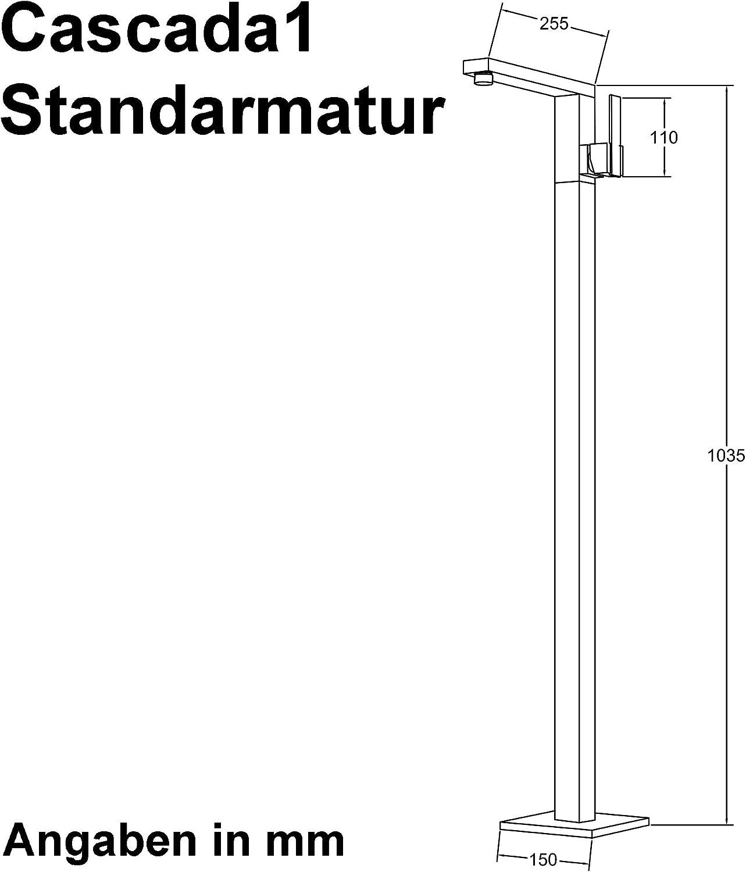 Sogood Standarmatur Cascada2 silber Einhebelmischer H/öhe 104 cm Boden-Montage Wannenarmatur DIN-Anschl/üsse