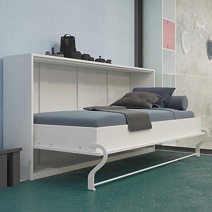 SMARTBett - Cama horizontal plegable, tipo armario de pared, 90 x 200 cm, ideal como cama para invitados, color blanco