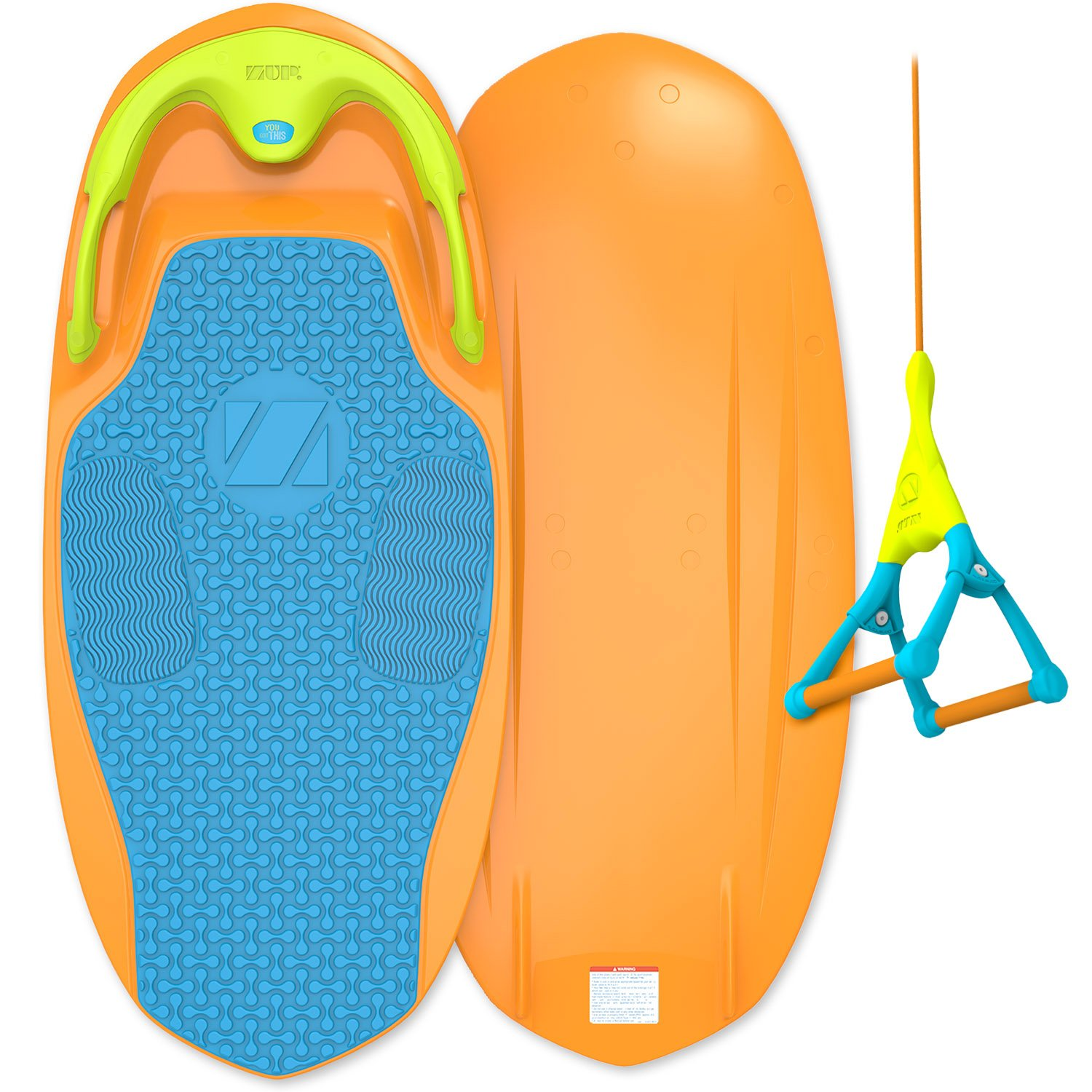 ZUP YouGo Board and Handle Combo, All-in-One Kneeboard, Wakeboard, Wakeskate, and Wakesurf Board for All Ages, Orange by ZUP