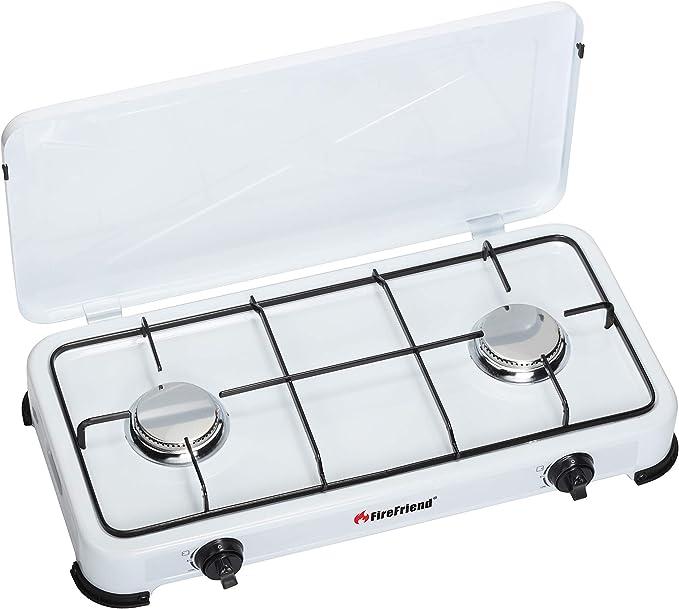 Brixton KO-6382DU - Cocina de gas con dos fuegos (50 mbar), color blanco
