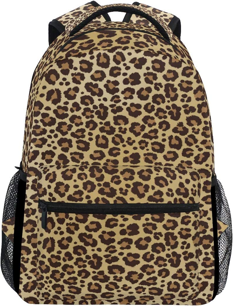 ALAZA Animal Leopard Print Brown Stylish Large Backpack Personalized Laptop iPad Tablet Travel School Bag with Multiple Pockets