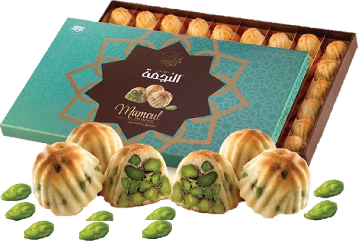 M503 - Maamoul Pistachio Sweet Cookies (56 Pieces, 36 Oz Net, 3.5 lbs Gross, Gift Box 16 inches x 10 inches x 1.5 inches) (Oglu) (Maamoul Cookies Pistachio, 36 Oz Net)