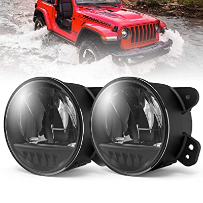 FieryRed Fog Light with Cree LED Bulbs For Jeep Wrangler JL 2020-2020,100% OEM Driving Fog Light,IP68 Waterproof: Automotive