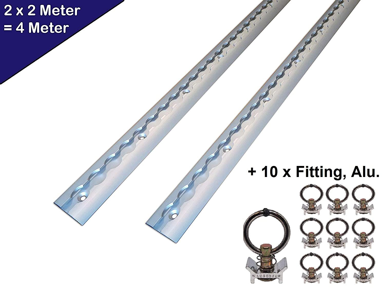 2/x 2/m forma rotonda e semicircolare con fori di 2/m 1975/mm -/con 10/x raccordi in alluminio. Binario fermacarico air-line in alluminio