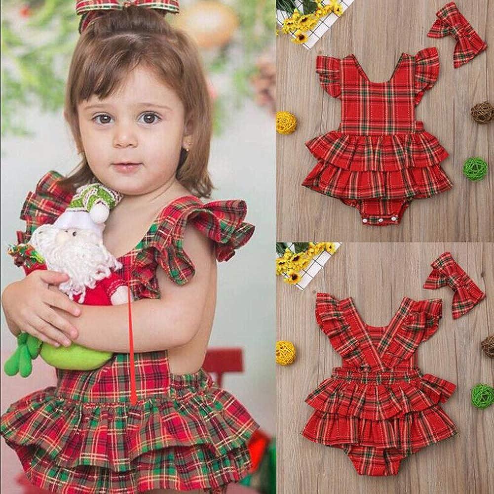 Fairy Baby 2Pcs Baby Girls Outfit Set Clothes Plaid Ruffles Tutu Skirt Romper Bodysuit