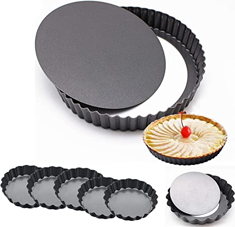 Round Tart Pan,2 Pack 9 Inch Non-Stick with Removable Loose Bottom Tart Pie Pan