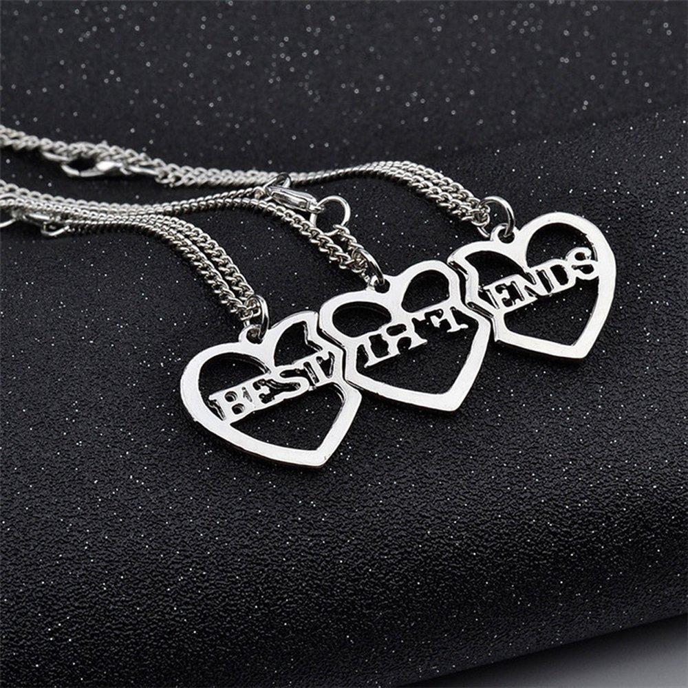 5305fbc7e419 Elegant Rose 3 Piezas Best Friends Forever BFF Plata corazón Clave Colgante  Collar Conjunto Amistad Accesorios hf0512