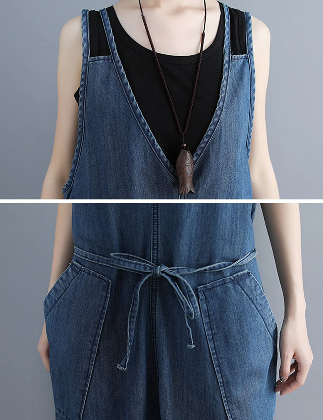 44051dcfb74 Amazon.com  Flygo Women s Loose Baggy Wide Leg Denim Jumpsuits Overalls  Rompers Cropped Harem Pants with Big Pockets  Clothing