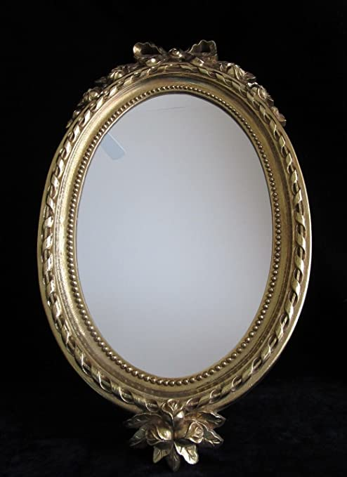 Amazon Com Vintage Home Interiors Oval Decorative Ornate Gold Frame Mirror Roses And Bow Everything Else