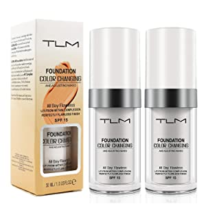 Liquid Foundation Makeup 2 Pack - Long-Term Full Coverage Foundation, Natural Moisturizing Highlighting Matte Oil - Flawless Colour Changing Foundation - SPF 15 (1 Fl Oz)
