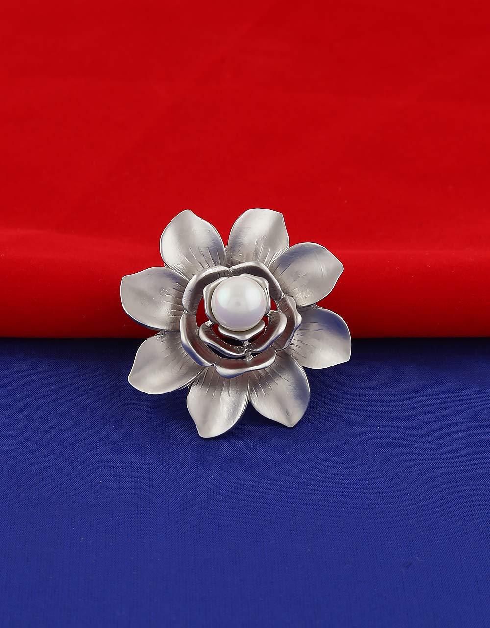 Anuradha Art Silver Colour Flower Styled Designer Trendy Brooch for Women/Men by Anuradha Art (Image #2)