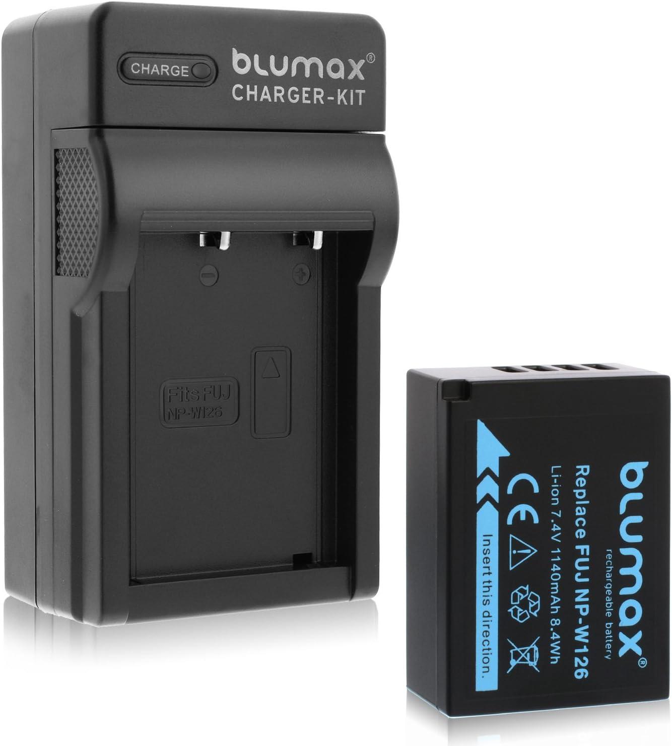 Blumax Akku f/ür Fujifilm NP-W126 Ladeger/ät f/ür NP-W126//s passend zu Fujifilm FinePix X-T1 X-T2 X-T10 X-T20 X-Pro2 und andere X-E1 X-E2 X-M1 X-A1 X-A2 X-Pro1 X-ES2 X-A3 HS50EXR NP-W126s 1140mAh