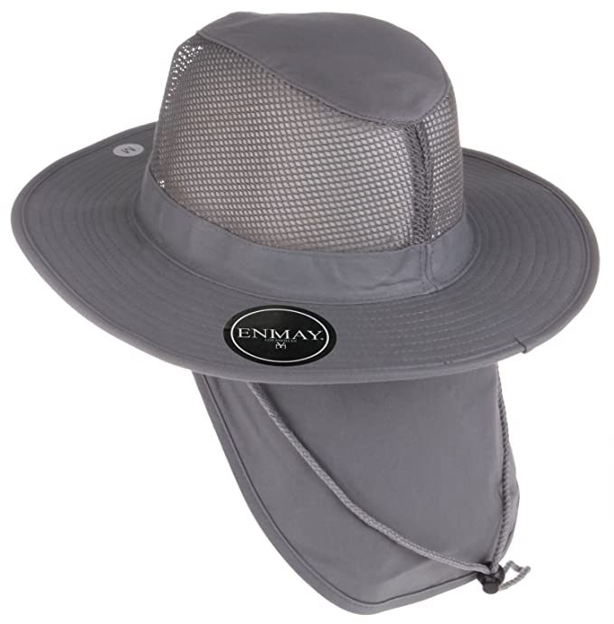 46780dfb Enimay Outdoor Hiking Fishing Snap Brim Hat with Neck Flap 3652 - Grey Small