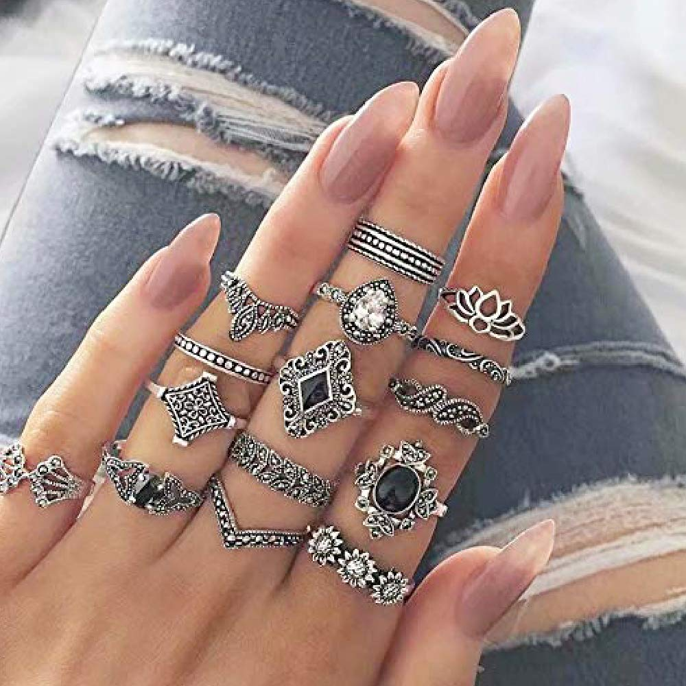 Vintage Ringe Fingerring-Set,Boho Ringe Fingerring-Set,Fashion Frauen Ring Nagel,Fingerkn/öchel-Ring-Set f/ür Frauen M/ädchen,Vier Verschiedene Stile 46 St/ück