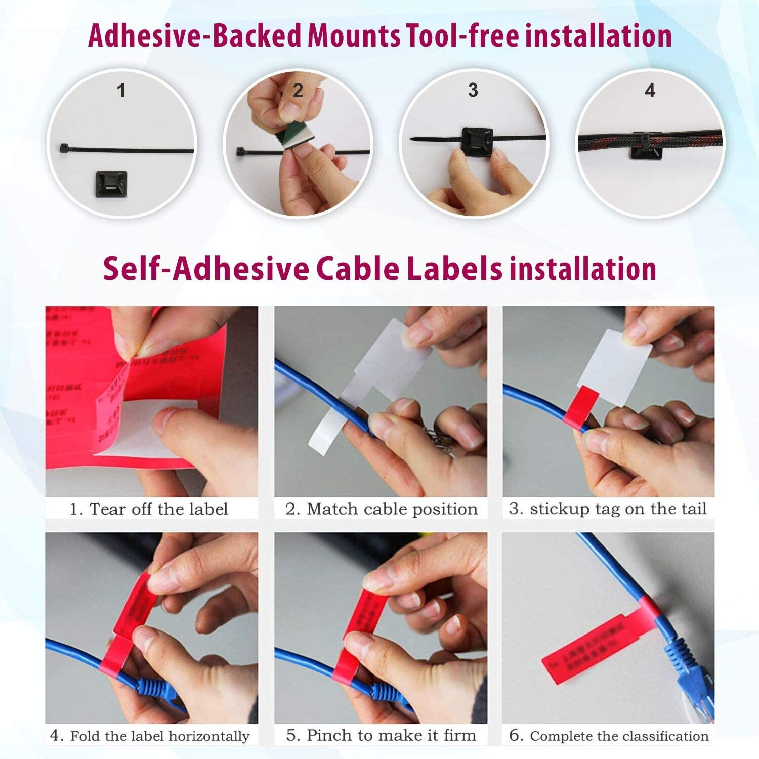100 Pack Adhesive-Backed Mounts Cable Zip Tie Base Holders with 100Pcs Multi-Purpose Cable Tie 150Pcs Cable Labels 200Pcs Screw for Cable Management Long-Term Secure