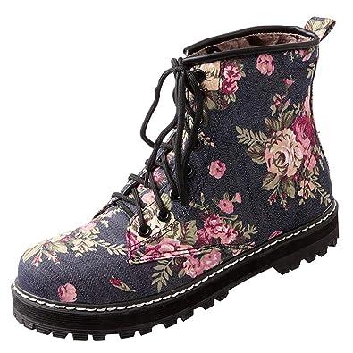fc635f10c3 Amazon.com | Artfaerie Women's Lace up Ankle Boots Block Heel Martin ...