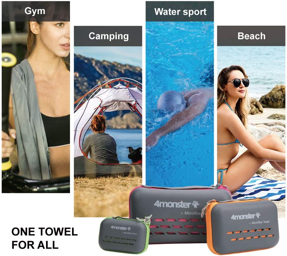 4Monster Camping Towels Super Absorbent, Fast Drying Microfiber Travel Towel, Ultra Soft Compact Gym Towel for Beach Hiking Yoga Travel Sports Backpack : Sports & Outdoors