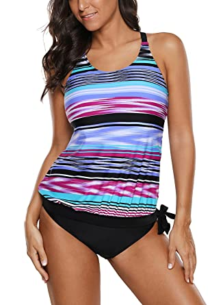 c3460ba42a4dd ROSKIKI Womens Tummy Control Push Up Tankini Swimsuit Print Cross Back Two  Piece Bathing Suit Swimwear at Amazon Women's Clothing store: